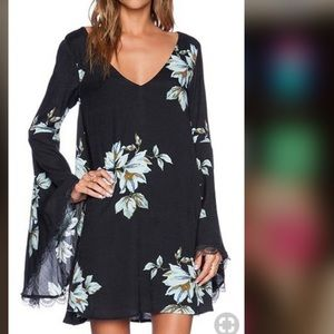 Free People Black Bell Sleeve Floral Dress